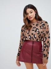 Bershka brushed leopard print jumper