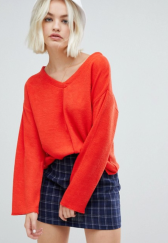 Pull&bear round neck jumper in red