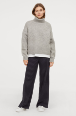 Knitted polo-neck jumper in Grey Marl