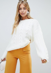 Brave Soul Bangla Cable Knit Jumper with Distressing Detail